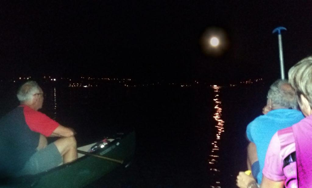 Pleine lune sur lac du Bourget - CLBCK RhônÔ Lac - rhonolac Chambéry Le Bourget canoë kayak